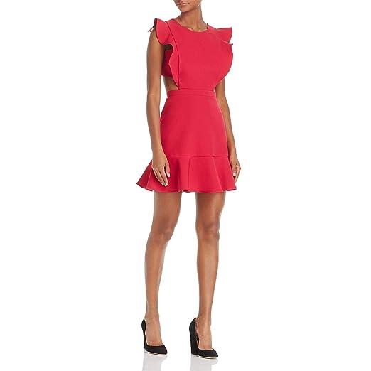 ac1d6378c3b Image Unavailable. Image not available for. Color  BCBG Womens Nicole  Ruffle Trim Cutout Cocktail Dress ...