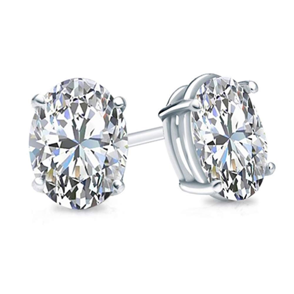 2.00 Ct Oval Cut Simulated Diamond Solitaire Stud Earrings .925 Sterling Silver