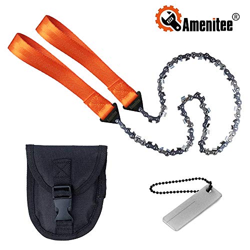 "Amenitee Pocket Chainsaw 24"" 3X Faster Survival Gear Wire Saw with 33 Serrated Teeth for Camping Tree Cutting 400 Grid Sharpener Included"