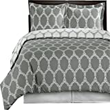 How Wide Is a California King sheetsnthings 9 Piece Bed In A Bag King Size Includes: 100% Cotton- Grey & White Brooksfield Printed Duvet Cover Set +White(Sheet Set +Bed Skirt) +All Season White Down Alternative Comforter