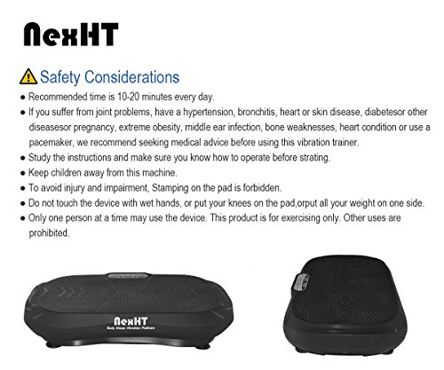 NexHT Fitness Vibration Platform Whole Body Shape Exercise Machine(89011A),Vibration Plate,Fit Massage Workout Trainer with Two Resistance Bands &Remote Controller,Max User Weight 330lbs.Black by NexHT (Image #6)