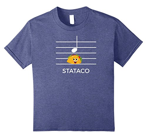 Kids Sta-Taco: Funny Parody Staccato Music Pun Tee for Musicians 12 Heather Blue (Sta Music)