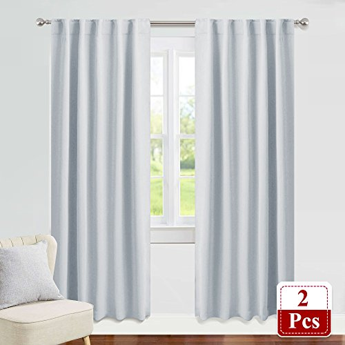 PONY DANCE White Curtain Panels - 42 Wide by 84 Long, Greyish White Room Darkening Light Block Window Curtains for Kitchen/Bedroom with Back Tab Slot Top Home Decoration Draperies, 2 PCs