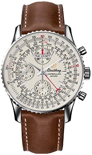 Breitling Montbrillant datora/reloj para hombre y esfera plata/caja acero/correa piel