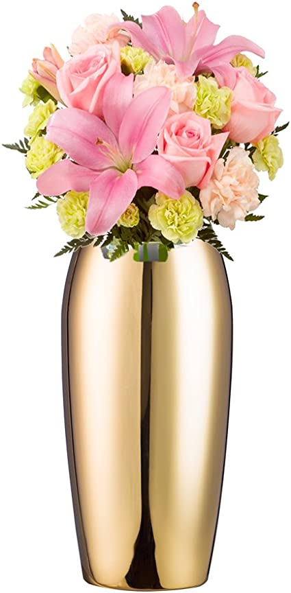 IMIKEYA Gold Metal Vase Small Flower Vase for Wedding Table Centerpiece Decorations Home Decor Centerpiece