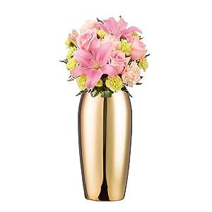 IMEEA Vase en Acier Inoxydable Vase décoratif pour la Maison, fête, Mariage, décoration, H Doré
