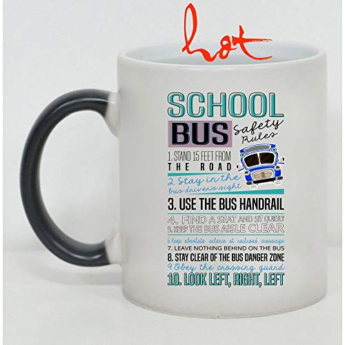Cute Gift For School Bus Drivers Cup, School Bus Safety Rules Mug, Cool School Bus Drivers Change color mug, Magic Coffee Heat Sensitive Mug (Color Changing Mug -