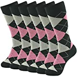 Groom Wedding Socks,SUTTOS Men's Boy's Youth 6 Pairs Crew Dress Socks,Custo Pink Black Argyle Jacquard Plaid Fancy Patterned Colored Argyle Cotton Formal Socks Mid Calf Casual Premium Dress Socks OS
