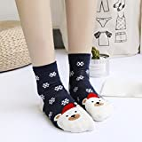 Hattfart Christmas Crew Socks, Printed Fun Colorful Festive, Crew Sock Women Colorful Fancy Design Soft (Navy)