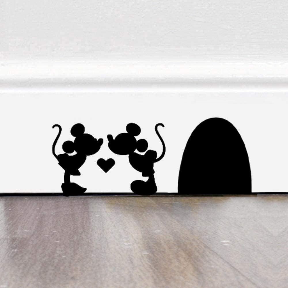TIANSINIAO Mouse Hole Wall Sticker Couple Mice Decal Disney Home Decor Mickey and Minnie Heart Wall Decal Sticker 25CmX10Cm