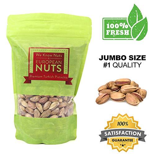 European Nuts Premium Turkish Pistachio Antep Roasted Salted | Resealable Jumbo Size Bag - 1 lb