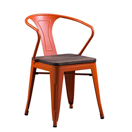 Superieur Retro Iron Chair, Industry Colorful Solid Wood Seat Metal Dining Chair  Furniture Creative Armchair Restaurant