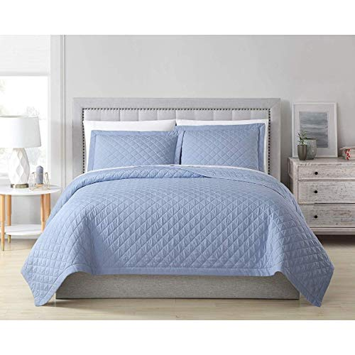 MISC Blue Bamboo Coverlet King Quilted Oversized Rayon Bedding Viscose Lightweight Box Stitch Pattern Fabric 108x96, 3 Piece