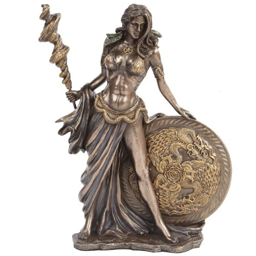 9.5 Inch Bronze Colored Frigga Figurine with Staph and Round Shield (Warrior Statue Figurine)
