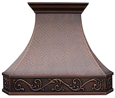 Copper Best H3 362130L Hammered Copper Range Hood with Elegant Patterns Wrap Around Wall Mount 36 inches, Includes the inserts