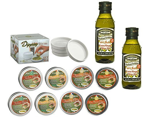 14 pc. Bread Dipping Set with 8 Tins, 4 Saucers & 2 bottles of Mantova EVOO