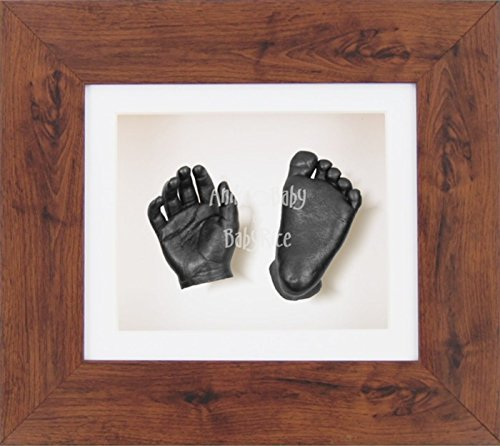 BabyRice 3D Baby Boy Casting Kit Mahogany Effect Frame Pewter Foot Casts