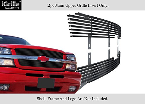 Fits 2003-2006 Chevy Avalanche/03-05 Silverado 1500 Stainless Black Billet Grill #C85317J