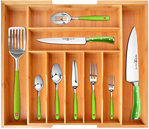 ROYAL CRAFT WOOD Bamboo Kitchen Drawer Organizer - Expandable Silverware Organizer/Utensil Holder and Cutlery Tray with Grooved Drawer Dividers for Flatware and Kitchen Utensils