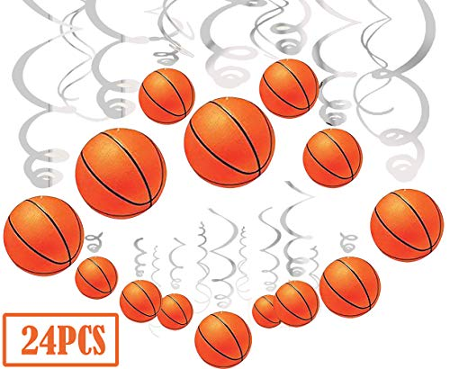 24Ct Basketball Party Supplies Hanging Swirls Decorations - Sports Basketball Game Baby Shower/Birthday Party Decorations ()
