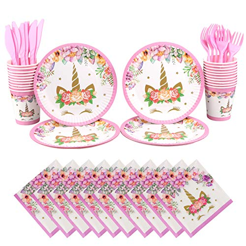 Yoodelife 100 Pack Unicorn Plates and Supplies Serves 20 with Unicorn Plates Cups Napkins Forks Knives for Birthday Baby Shower Party Supplies