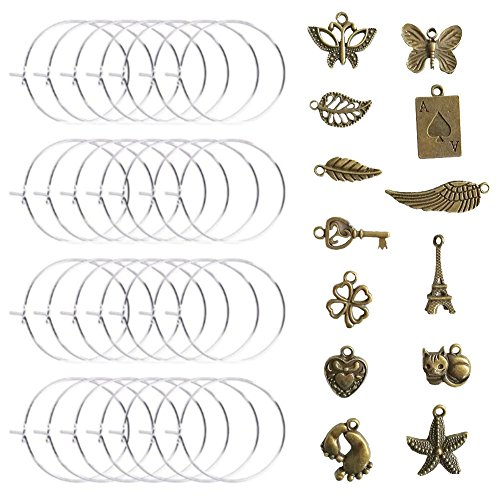 Price comparison product image Ancefine 30mm 100 Pieces Silver Plated Wine Glass Charm Rings +65 Pieces Antique Bronze Pendant Charms-DIY Your Own Wine Glass Marker