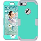 Mupoo iPhone 7 Case, iPhone 8 Case, Three Layer Heavy Duty Shockproof Protection Hybrid Hard PC Case Soft Silicone Impact Defender Full-Body Protective Cover for Apple iPhone 7, iPhone 8 Green/Gray