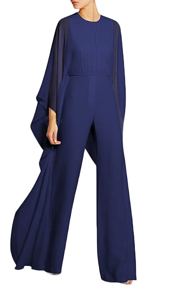 Jumpsuit Elegante Donna da Cerimonia Moda Unique Chiffon Tuta Lunghi Manica Pipistrello Rotondo Collo Vita Alta Cocktail Partito Pantaloni Larghi Tutine