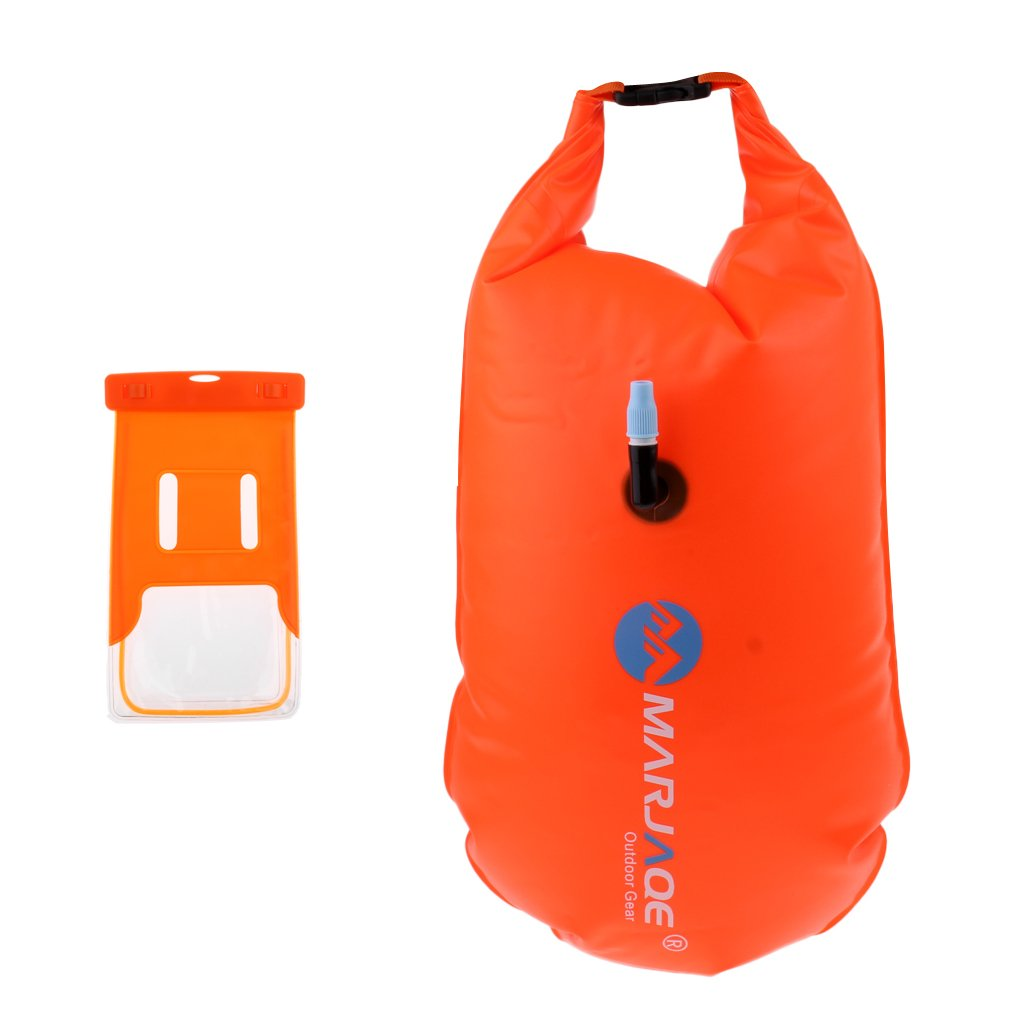 Baosity Durable PVC Roll Top Dry Bag Swimming Tow Float + Waterproof Phone Case For Open Water Swimmers and Triathletes - Orange by Baosity (Image #1)