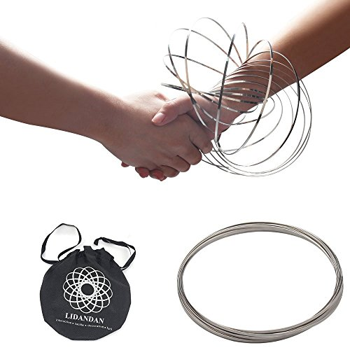 Flow Rings Magic Original Kinetic Spring Toy Stainless Steel Rings 3D Sculpture Ring fidget toys for Kids boys girls Adult,Rave Accessories, Festival Accessories(Silver)