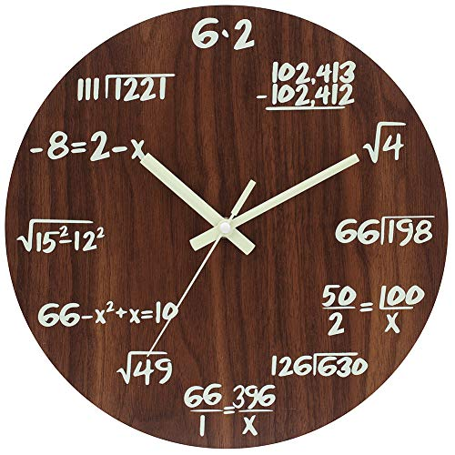 JoFomp Math Wall Clocks, Night Light Wooden Silent Non-Ticking Wall Clock for Mathematics Teacher Gift, Vintage Rustic Country Tuscan Style Decorative Wall Clock for School, Home, Office (Wooden -