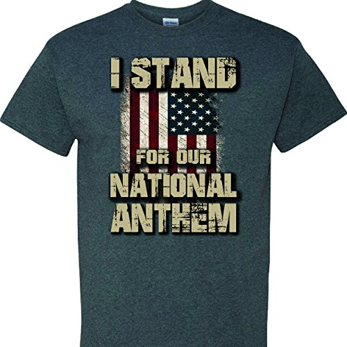 I Stand For Our National Anthem on a Dark Heather T Shirt - Pool Warehouse National