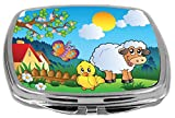 Rikki Knight Compact Mirror, Meadow with Happy Spring Animals, 3 Ounce