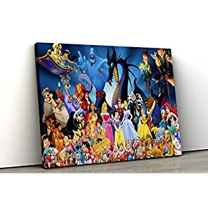 52 North Disney Characters Collection Canvas Print Framed Wall Art Kids Bedroom Decor (A1 (30x20inch))