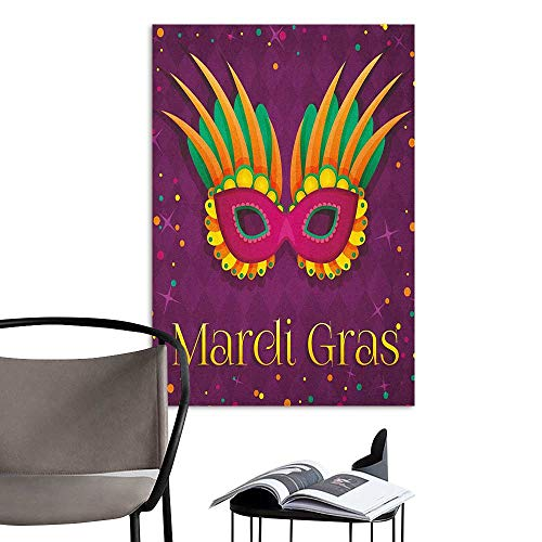 Wall Sticker self-Adhesive Mardi Gras Festival Mask Design on Purple Backdrop with Stars and Colorful Dots Purple Orange Green TV Backdrop Wall W24 x H36 for $<!--$33.00-->
