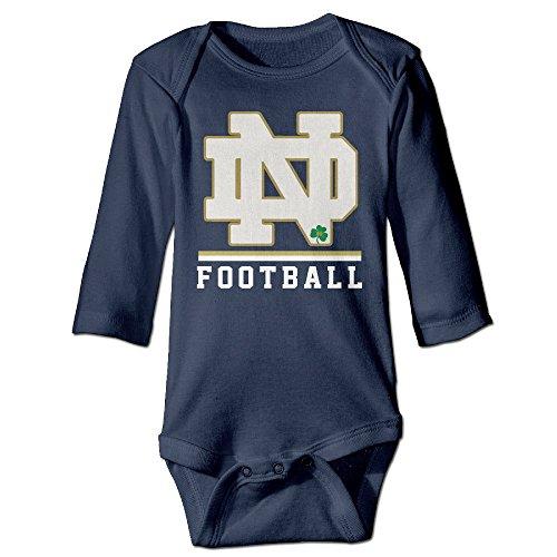 Kids Notre Dame Fighting Irish Football On Field Long-sleeve Romper Jumpsuit Navy