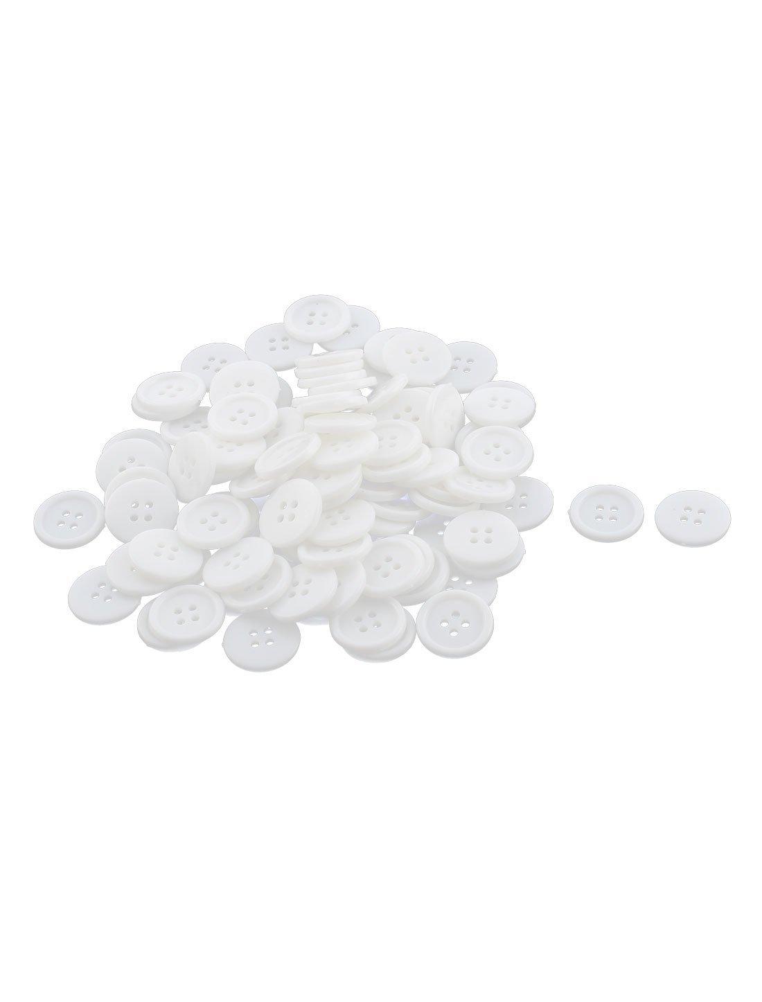 プラスチック製4つの穴ミシンボタンアップリケ17ミリメートルダイヤの100pcsホワイト   B072HC4T48