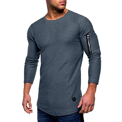 ◕‿◕ Toponly Mens Casual Tops Long Sleeved Zipper T-Shirt Solid Fold O Neck Blouse