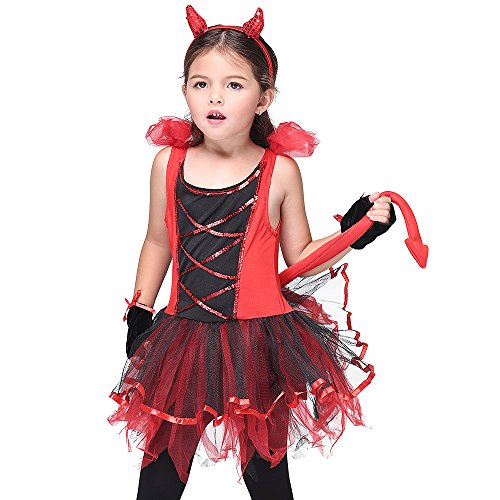 Darling Devil Toddler Costume (Uleade Girl Devil Darling Devilina Imp with Horns Dress Up & RolePlay Halloween)