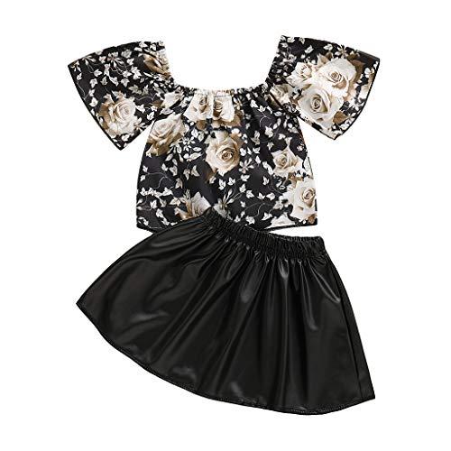 Joyance Baby Girls Teen Sleeveless Strapless Flower Dress T-Shirt Top + Solid Color Skirt Casual Kids Set Black ()