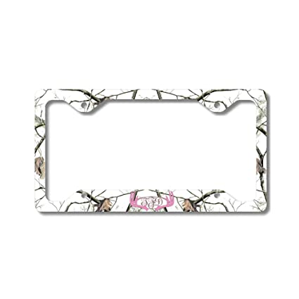 Amazon.com: Pink Monogram Deer Antlers White Camo Print Personalized ...
