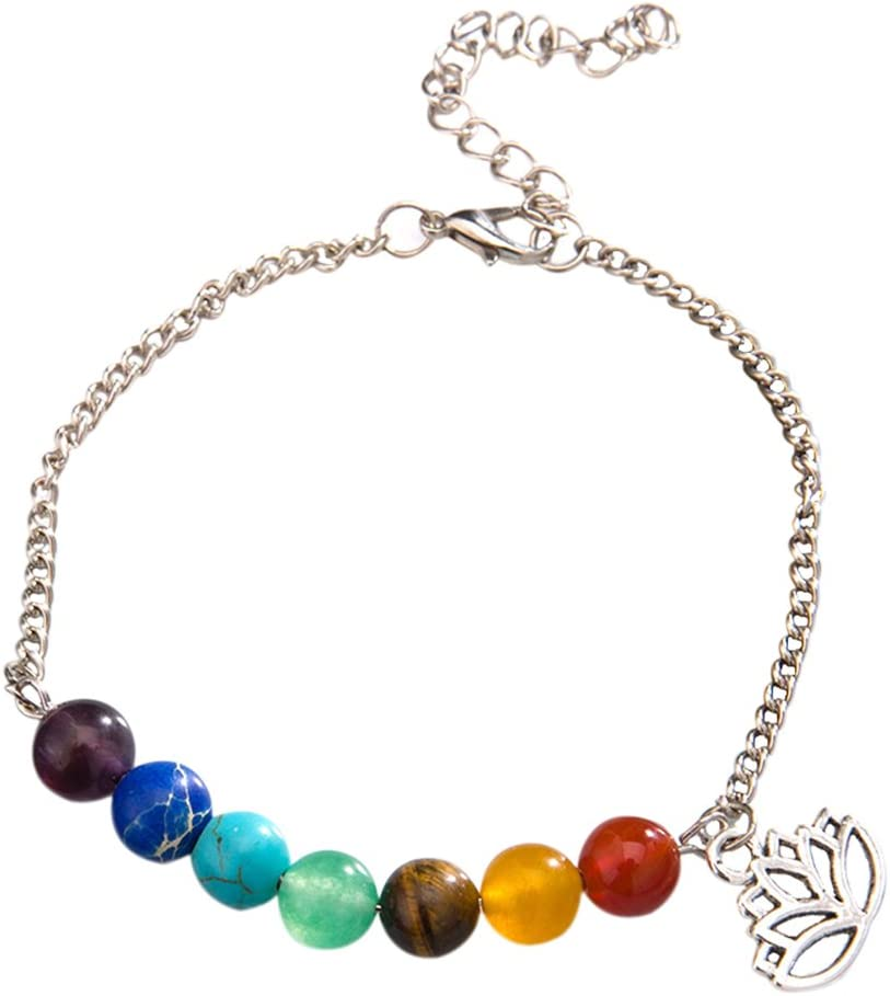 Xuxuou Bangle Bracelet Seven Chakra Lotus Copper Chain cuxuou Lotus Copper Chain Anklet Bracelets Barefoot Sandal Foot Chain Beach Jewelry for Women Girl