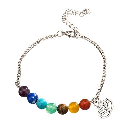 Nikgic Charm Pulsera Color Rainbow 7 Chakra Pulsera Tratamiento Reiki Piedra Oración Balance Bolas Pulseras