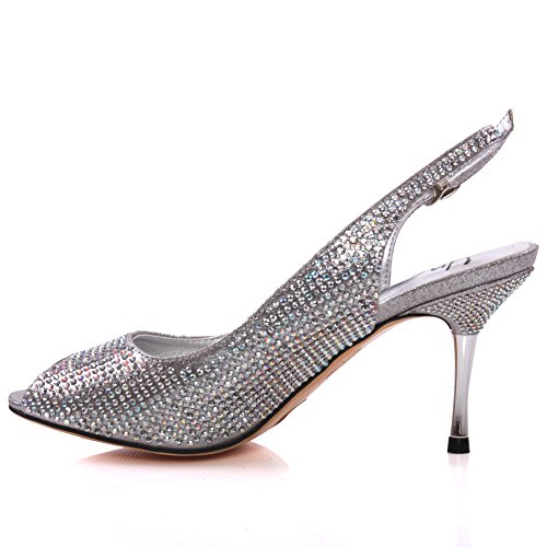 Unze Mujeres Caprio ' sandalias de la manera Shimmery Plateado