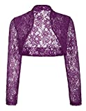 JS Fashion Vintage Dress Elegant Wedding Bolero Wrap Jacket for Brides (XL,Purple BP49)