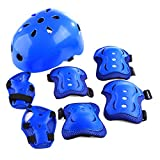 YAKOK Kids Helmet Set, 7pcs Kids Helmet Safety with Protective Gear Set for Bike Scooter Skateboard Skate for Child Boys and Girls, 4-12 Years Old (Blue)