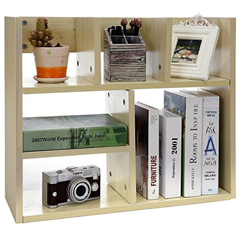 Freestanding Tabletop Bookcase Organizer Compartments