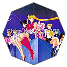A Group Of Girls In Anime Sailor Moon Sit On The Roof Printed Umbrella Good Umbrella