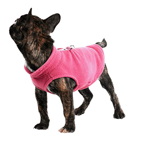 Pet Dogs Cloth Fleece Cold Weather Coats Solid Color Dogs Vest Jacket Dogs Harness For Small Medium Dogs Sweater (M, Pink)