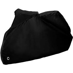 Zacro 2.45 x 10.5 x1.25m Housse de Protection pour Moto Couvertures Housse de moto Couverture Imperméable avec Aissu de polyester 190T pour Moto, Scooter protège de la pluie, soleil, poussière, Noire